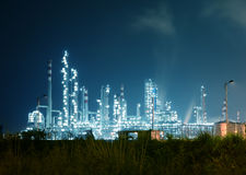 Refinery industrial plant at night stock photo