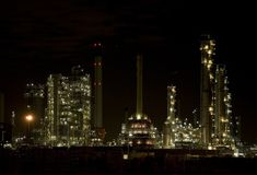 Refinery at night 1 Stock Photo