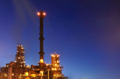 Refinery. Night. The lights of the refinery. Night lighting royalty free stock photo
