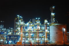 Refinery at night Royalty Free Stock Photos
