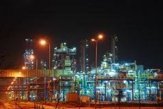 Refinery at night stock photography