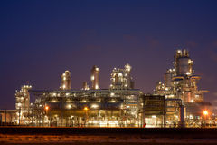 Refinery at night Stock Photo