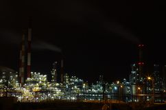 Refinery in night Royalty Free Stock Images