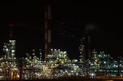 Refinery in night Stock Photos
