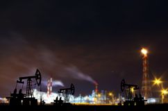 Refinery in night Royalty Free Stock Image
