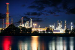 Refinery at night Stock Photos