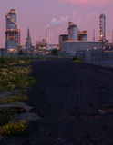 Refinery at night in Montreal (pink version 2). Refinery before sunrise. Camera: Nikon D50, 50mm lens, F=2.8 royalty free stock photo