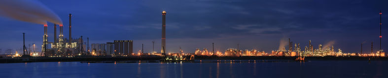 Refinery at night panorama royalty free stock photography