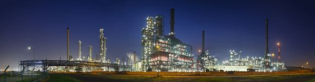 Refinery At Night Panorama Royalty Free Stock Photos