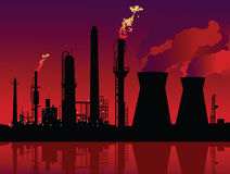Refinery and a nuclear plant Royalty Free Stock Photography
