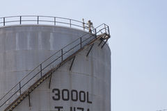 Refinery. Oil and fuel towers, panoramic view Royalty Free Stock Photography