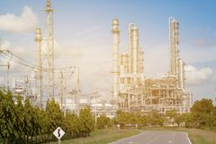 Refinery oil and gas industry. Selective focus Stock Image