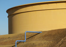 Refinery Oil Tank. A storage tank for petroleum products at an oil refinery in California Royalty Free Stock Photos