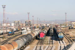Refinery oil trains rail yard Royalty Free Stock Image