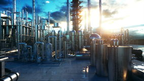 Refinery. Petrolium, chemical plant. Metal Pipe. Realistic cinematic 4k animation. stock video footage
