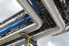 Refinery pipeline. Detail of oil refinery pipeline Royalty Free Stock Image
