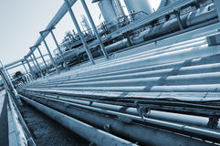 Refinery pipelines in blue Stock Images