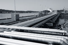 Refinery pipelines and ship Royalty Free Stock Photos