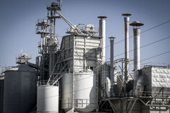 Refinery, pipelines and towers, heavy industry overview Royalty Free Stock Photo