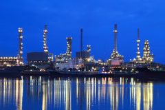 Refinery plant area at night Royalty Free Stock Photography