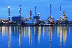 Refinery plant area at twilight Stock Images