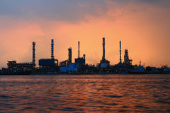 Refinery plant area at twilight Stock Photos