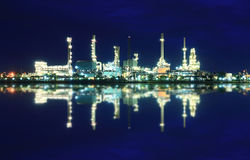 Refinery plant area at twilight Royalty Free Stock Photography