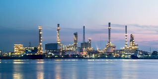 Refinery plant area at twilight morning Stock Photos