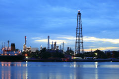 Refinery plant area at twilight Panorama Stock Image
