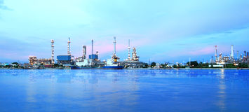 Refinery plant area at twilight panorama Royalty Free Stock Image