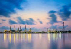 Refinery plant area at twilight. Thai Royalty Free Stock Image