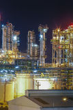 Refinery plant with beautiful lighting on structure Stock Photos