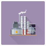 Refinery plant flat design vector illustration Stock Photo