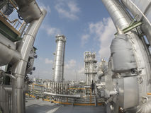 Refinery plant in wide lens Stock Photography