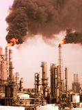 Refinery  Pollution. Refinery in an upset condition flaring heavily and causing pollution Stock Photos