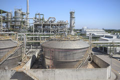 Refinery process area of petrochemical plant Stock Photography