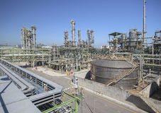 Refinery process area of petrochemical plant Royalty Free Stock Images