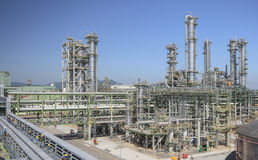 Refinery process area of petrochemical plant Royalty Free Stock Image