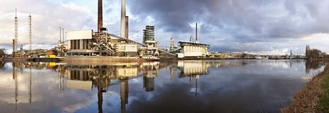Refinery With Reflection Panorama Stock Photos