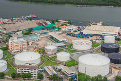 The refinery at the river in Thailand. Royalty Free Stock Image