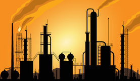 Oil Refinery industrial silhouette. A polluting refinery with the sun set in the back vector illustration