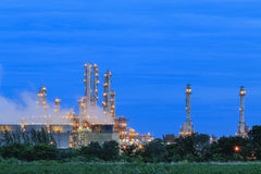 Refinery Structure with cooling tower in twilight Royalty Free Stock Image