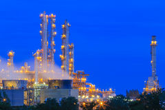 Refinery Structure with cooling tower in twilight Stock Photos