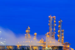 Refinery Structure with cooling tower in twilight Royalty Free Stock Photography