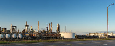 Refinery at sunset Stock Photos
