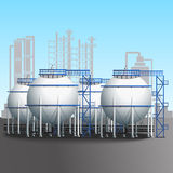 Refinery tank farm with pipeline Royalty Free Stock Image