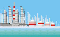 Refinery and tanks background. Industrial landscape with the image of an oil refinery. Vector background Royalty Free Stock Photography