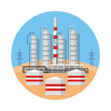 Refinery and tanks. Industrial landscape with the image of an oil refinery. Vector background Royalty Free Stock Image