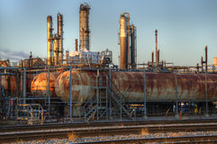 Refinery Tanks  at sunset. Oil Refinery Tanks in  Montreal east at sunset Royalty Free Stock Photo