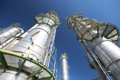 Refinery tower with blue sky Royalty Free Stock Images